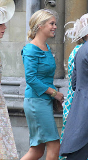 Prince Henry's on-again-off-again girlfriend Chelsea Davy arrives to the wedding.