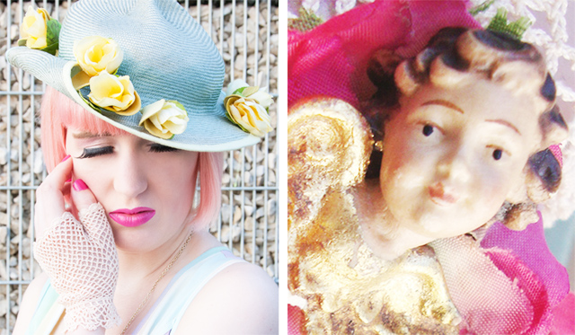 angel accessories, vintage headwear, pastel pink hair, false lashes