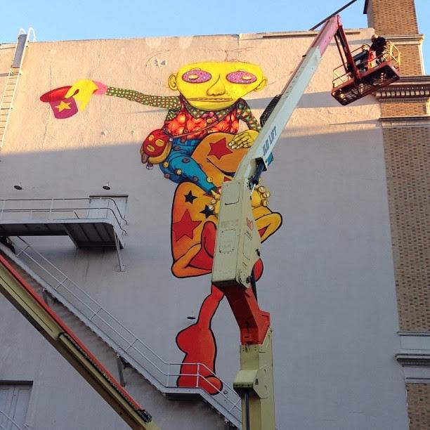 Work In Progress By Brazilian Street Artists Os Gemeos At Warfield Theatre In San Francisco. 1
