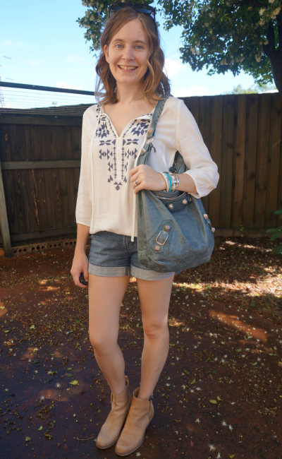 Away From Blue Boho Autumn Outfit Denim shorts tunic acne pistol boots hobo bag