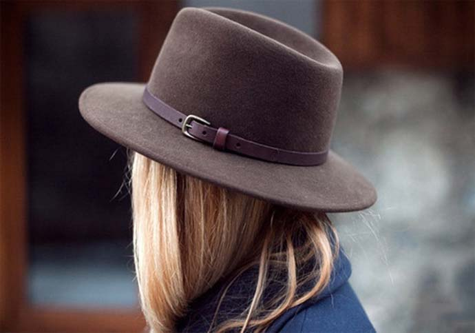 A felt brown fedora hat