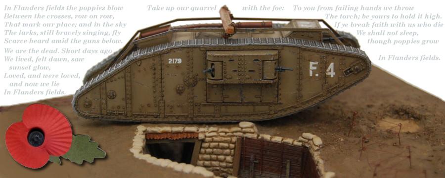 Erster Weltkrieg Diorama eines englischen Schützengrabens mit Tank und Soldaten, Diorama of a British Trench in WWI Bild 1