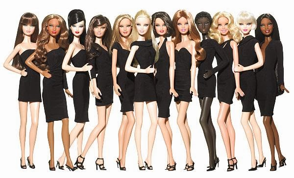 Barbie basic collection feature different barbies in different skin tone and hair style, wearing classic little black dress.