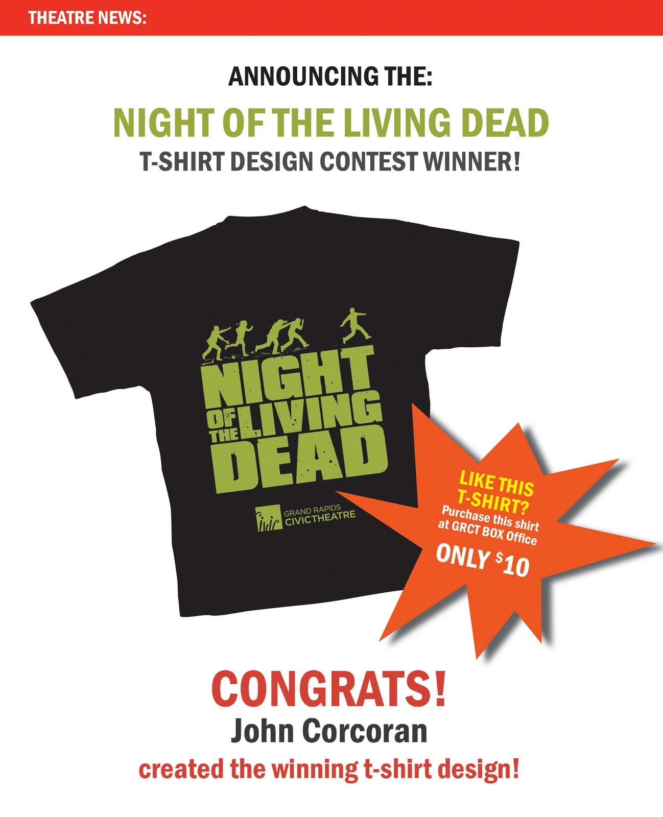 News updates night of the living dead t shirt design for Newspaper t shirt designs