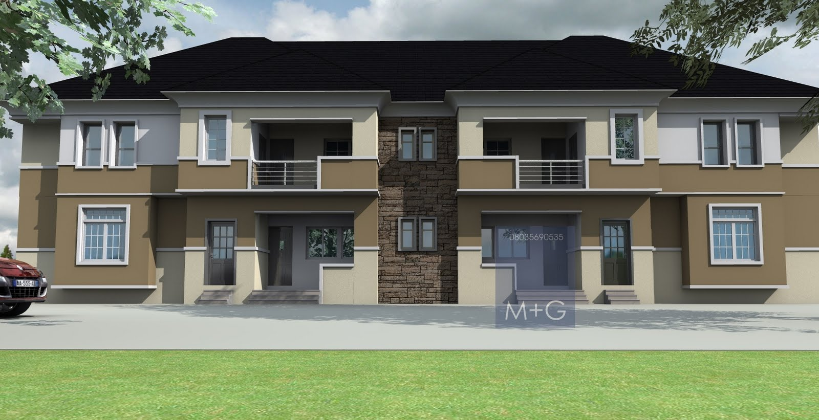 Contemporary nigerian residential architecture 4 units of for 3 bedroom architectural designs