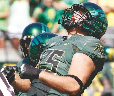 Oregon's Jake Fisher mocks the SEC as being super big and scary.