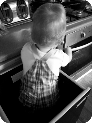 baby in FunPod, kitchen safety