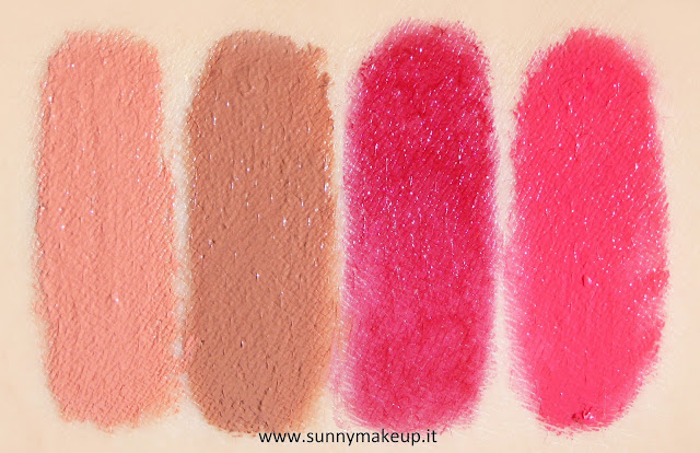 Pupa - Soft & Wild. Collezione autunnale 2015. Soft&wild Soft & Wild I'm Lipstick. Da sinistra verso destra, i rossetti nelle colorazioni: 001 Soft Rose Nude, 002 Soft Brown Nude, 003 Wild Red, 004 Wild Fuchsia. swatch