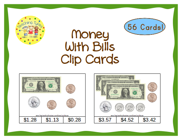 https://www.teacherspayteachers.com/Product/Money-with-Bills-Count-Clip-Cards-Common-Core-Aligned-996958