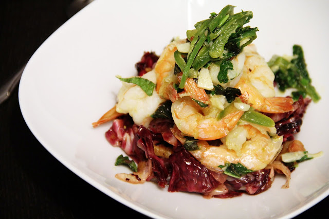 Shrimp with Garlic, Chilies and Mint over Pancetta Radicchio