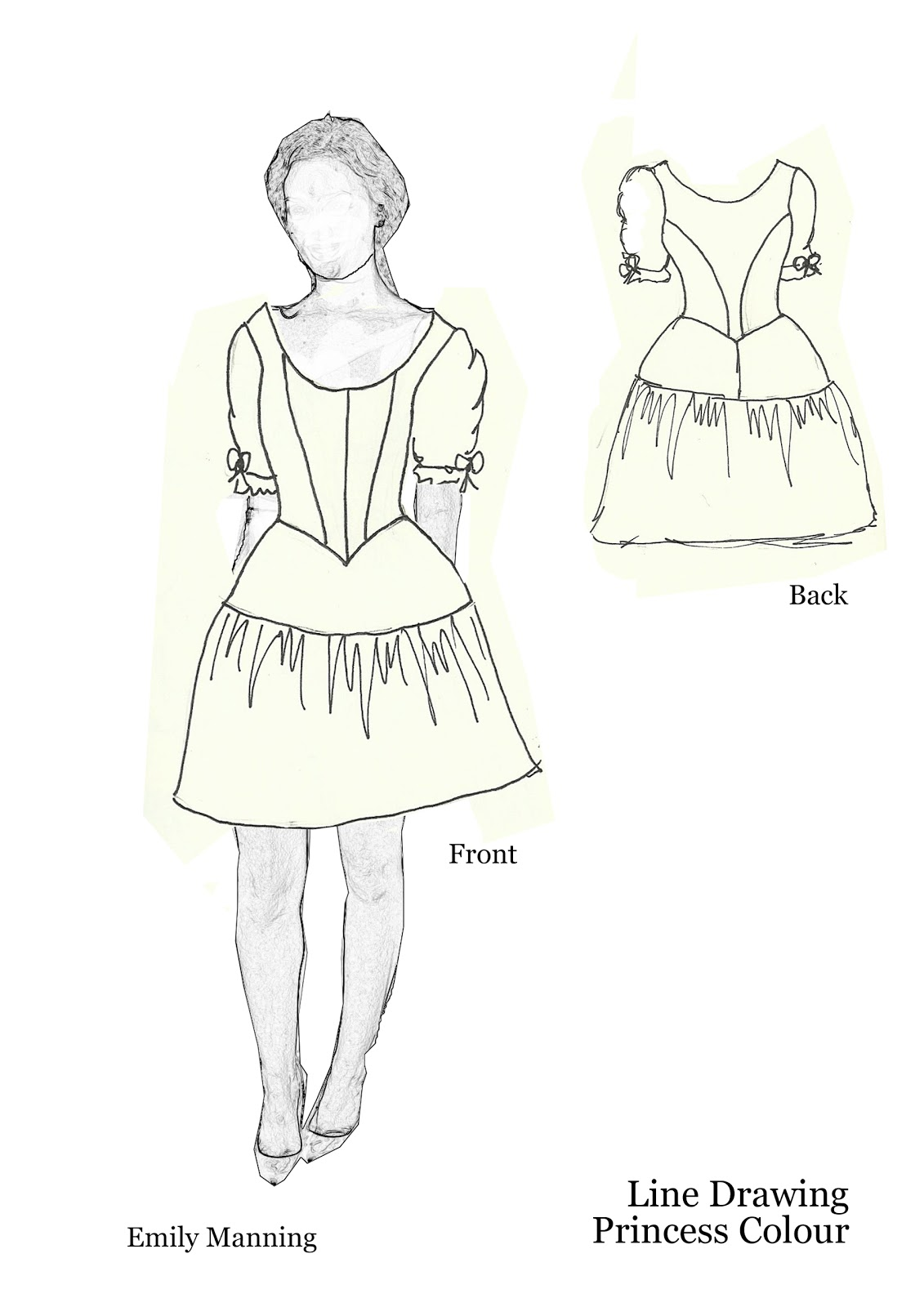 Line Drawing Dress : Feather stitches and french knots base dress line drawings