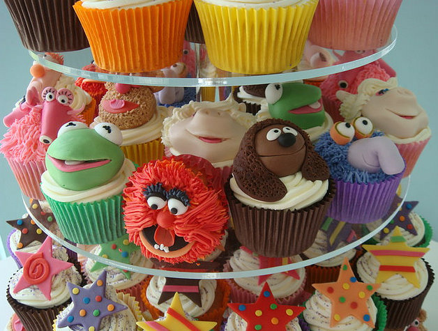Muppet movie party collage cupcakes