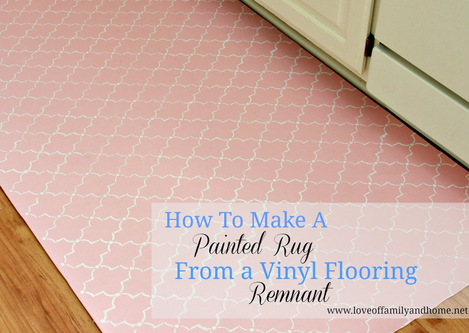 How to paint a rug using vinyl flooring love of for Can you paint over vinyl flooring