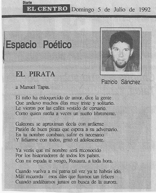 El Pirata, Patricio SANCHEZ (Diario EL CENTRO, Chile, 1992)