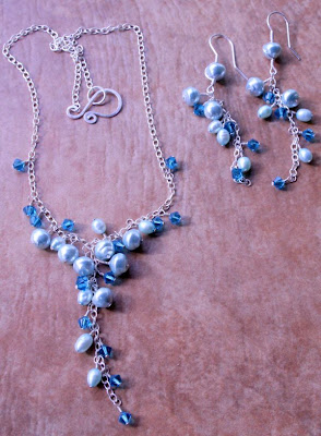Aquatic Dream: sterling silver, freshwater pearls, Swarovski crystals, wire wrapping, waterfall cluster, necklace, earrings :: All Pretty Things