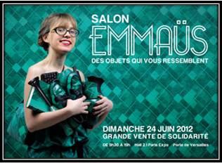 Affiche Salon pour la solidarité Emmaüs 2012 Porte de Versailles pour l'Afrique