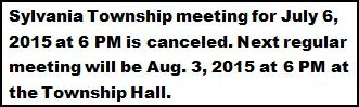 7-6 Sylvania Township Meeting Cancelled