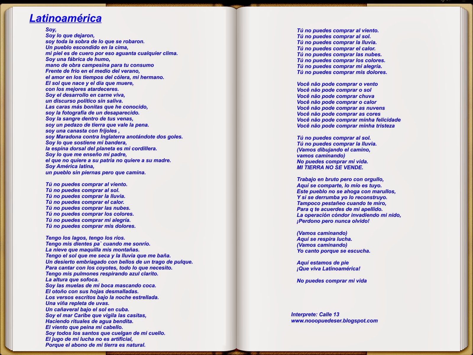 letra de canciones de la calle 13: