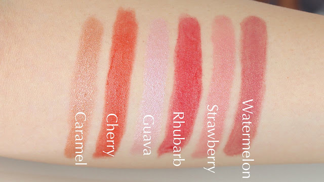 Burt's Bees Lip Shimmer Lip color balm in Caramel, Cherry, Guava, Rhubarb, Strawberry, Watermelon Swatches