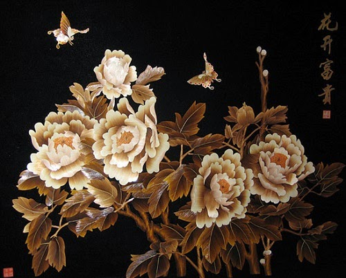 Straw art painting made by Valery Kozlov
