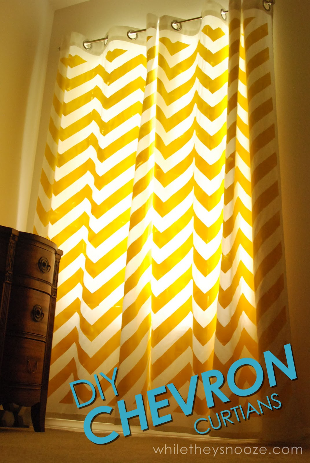 Yellow and grey chevron curtains - Diy Chevron Curtains Tutorial