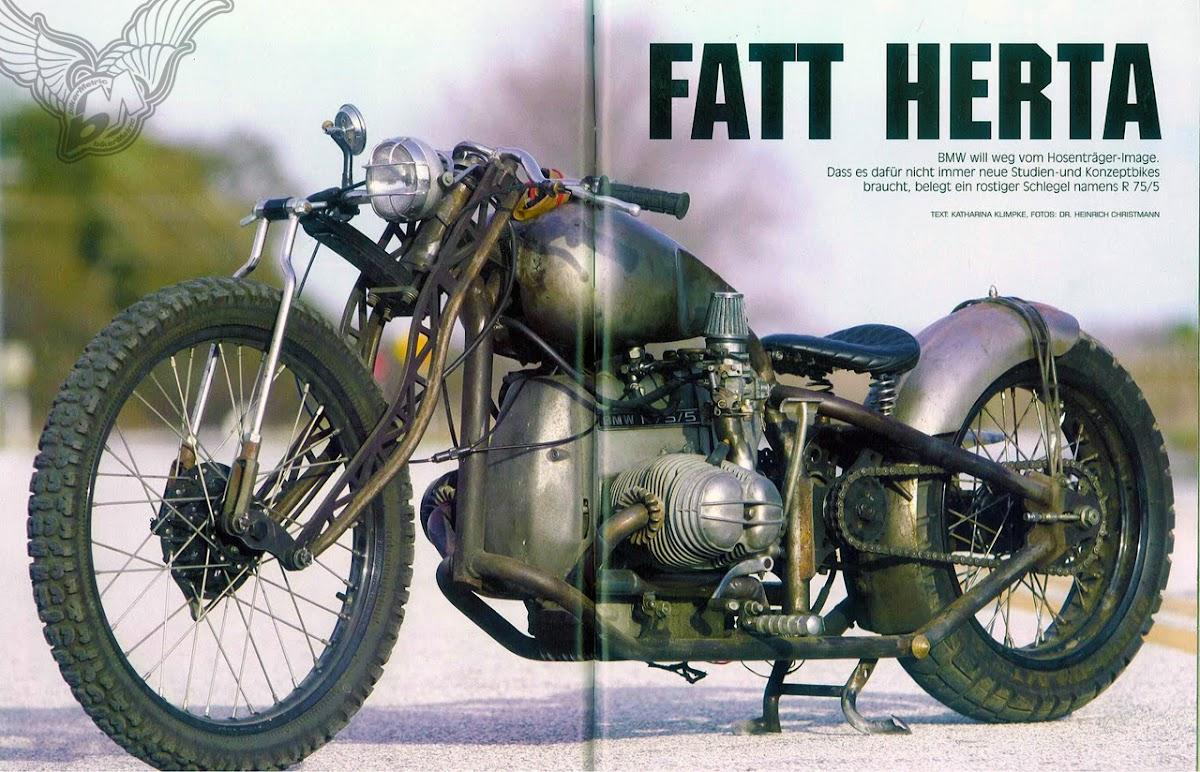 bmw r75/5 bobber - magazine spread | fna custom cycles