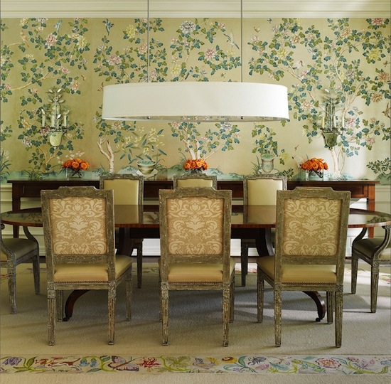 floral traditional dining room with modern lighting