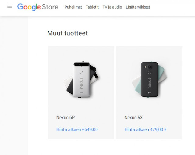 Nexus 5X Smartphone €480 & Nexus 6P €649 in Europe