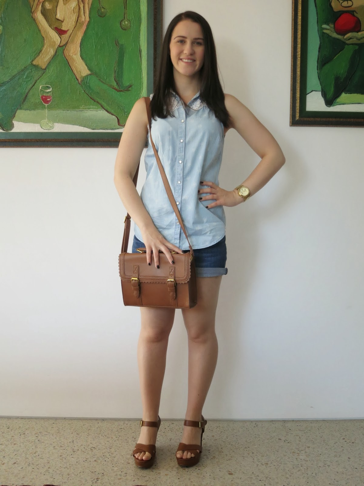 everyday outfit, petite outfit, double denim, chambray, tan wedges and bag, summer outfit, lace detailing