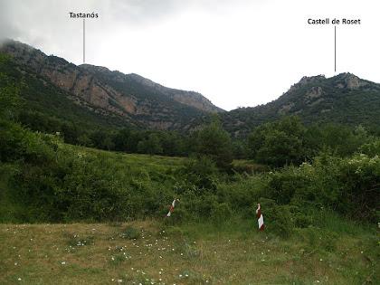 Vistes cap el Castell de Roset des de la cruïlla amb la pista de La Masó