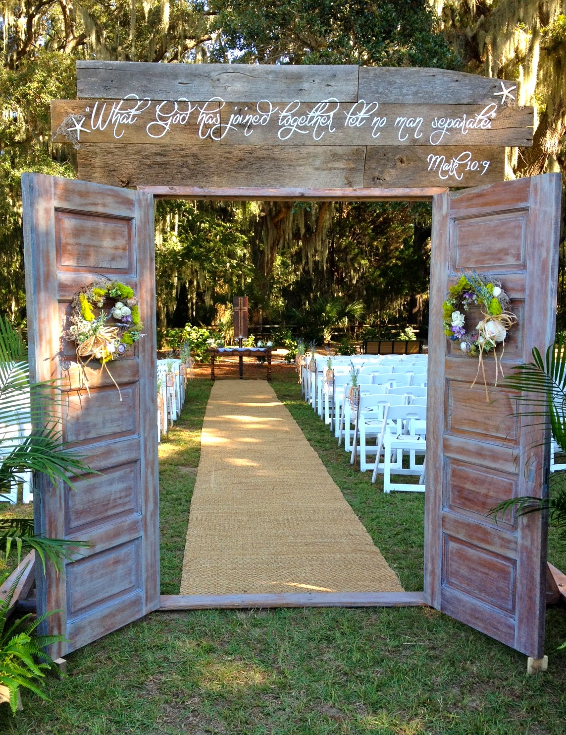 Taylored and turquoise a story about doors for Images of outdoor weddings