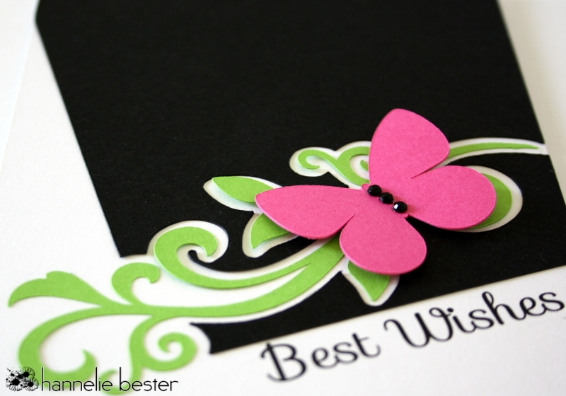 Best wishes card with flourish and butterfly
