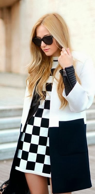 Black and White Fall Dress With Coat