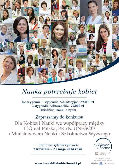 Plakat konkursu L'Oréal Polska dla Kobiet i Nauki 2014