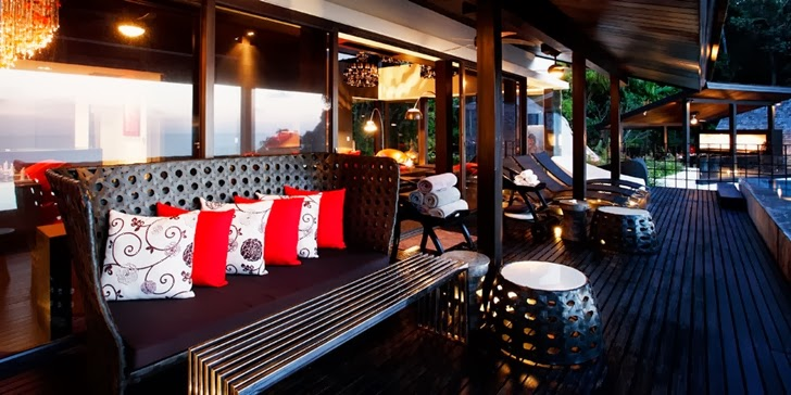 Dark terrace furniture in an Amazing contemporary Villa Yin in Phuket