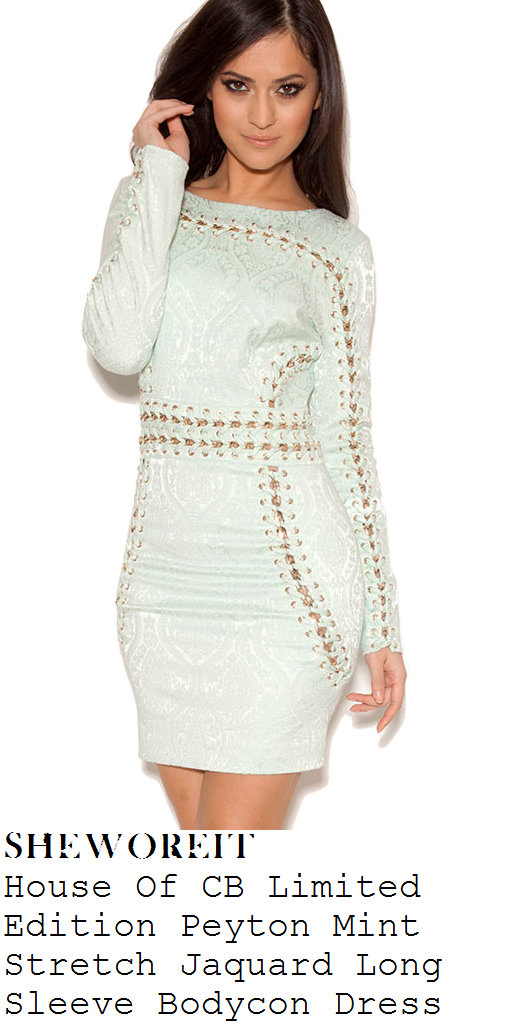 nicole-scherzinger-mint-jacquard-chain-detail-long-sleeve-mini-dress