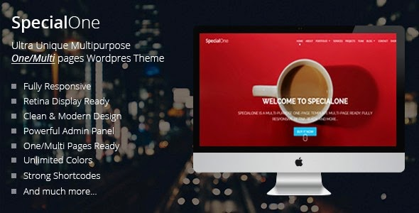 SpecialOne | Responsive One Page Multi-Purpose Theme