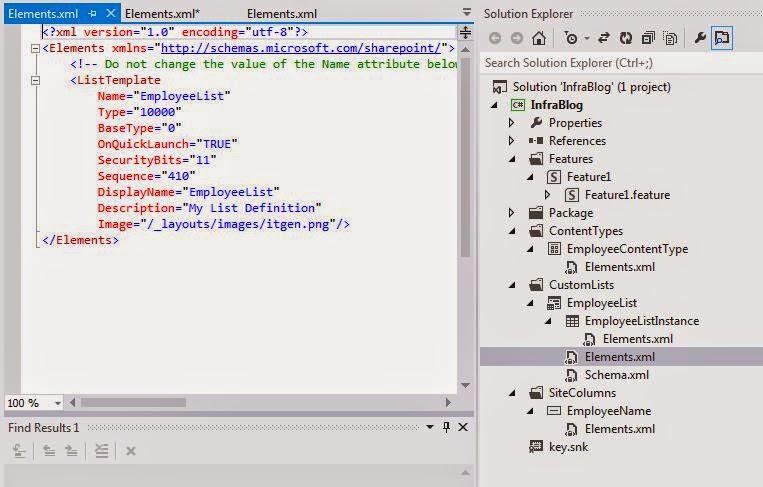 List Template Element.xml in visual studio 2012