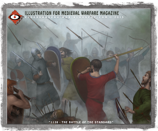 """Historical Illustration about """"The Battle of the Standard"""" by ªRU-MOR for Medieval Warfare Magazine. Scots vs English"""