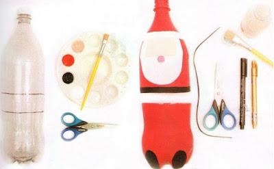 lembrancinha de natal feita com reciclagem de garrafa pet