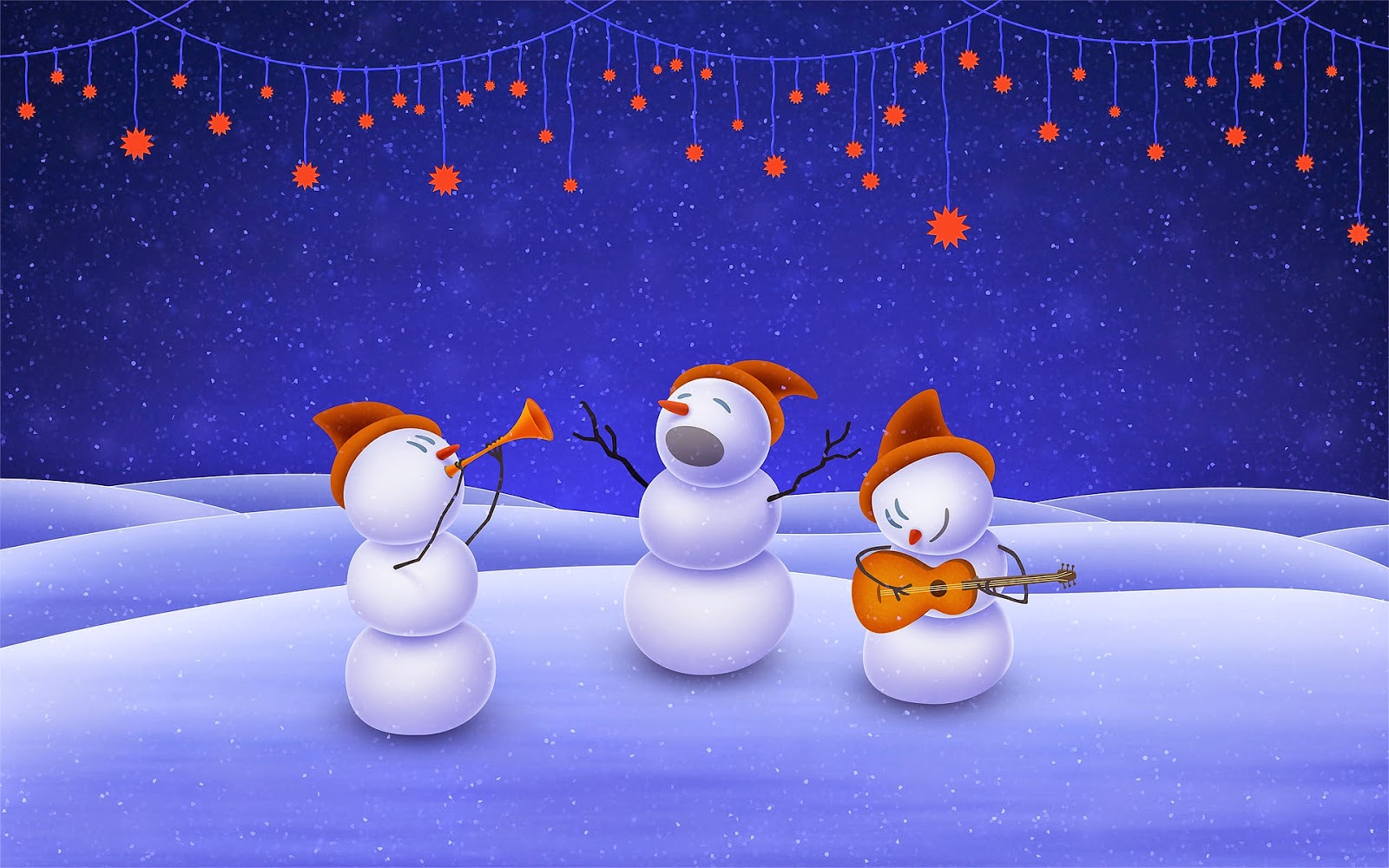 Snowman-music-band-Christmas-troop-wallpaper-image-for-powerpoint-PPT-word-document.jpg