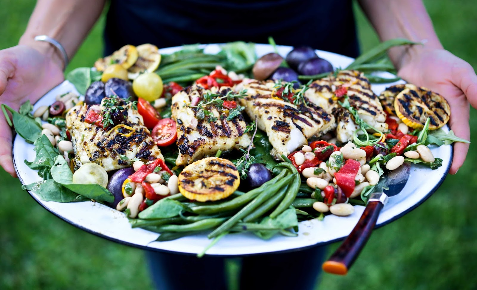 Nicoise salad with grilled fish for Fish and salad
