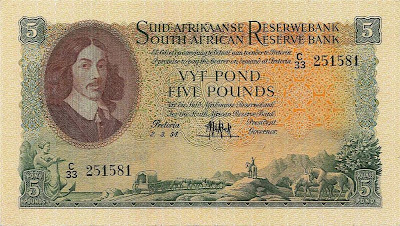 South African 5 Pounds banknote