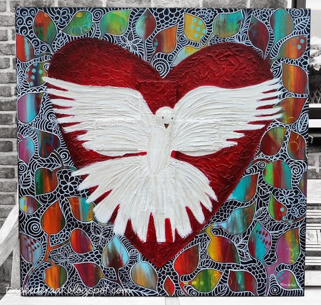 In dit schilderij ( 1 meter x 1 meter) heb ik de duif als beeld van de