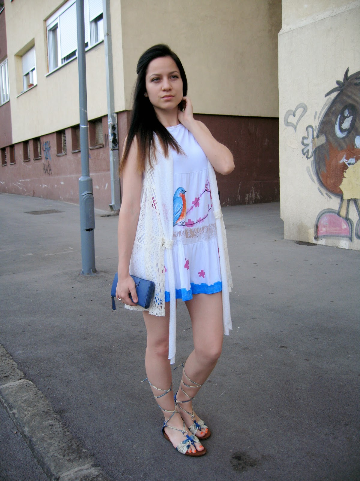 DIY from skirt to a dress, DIY bird print dress skirt, bird and flower cherry blossom print on skirt dress, white crochet vest, white and blue flat strappy sandals, casual look