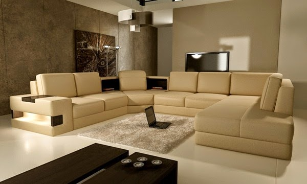 Sala moderna con muebles color beige y paredes color arena. Una sala