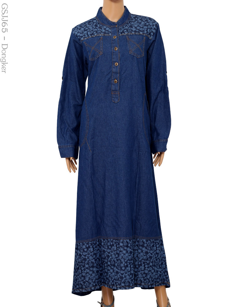Gamis jeans jumbo gsjj65 busana muslim murah terbaru Suplier baju gamis remaja harga pabrik bandung