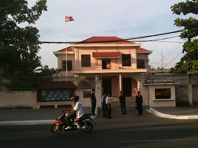 North Korean (DPRK) embassy, Phnom Penh, Cambodia. Dec 19, 2011, the day Kim Jong-il died. Flag at 3/4 mast.