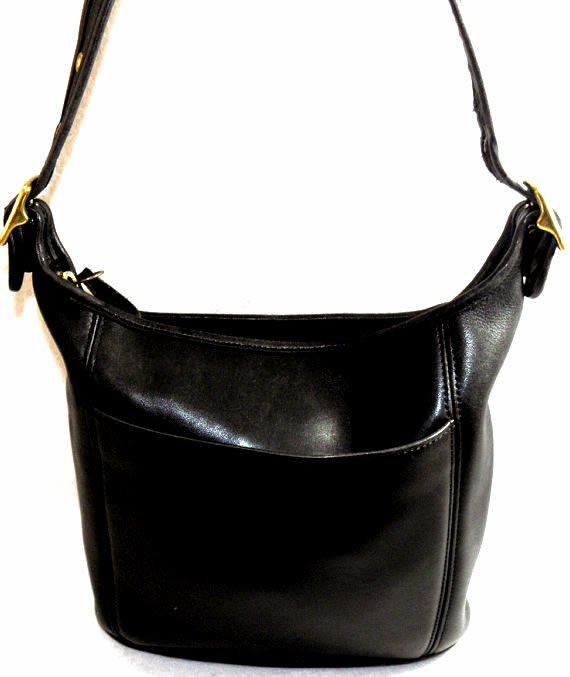 Vintage Black Leather Coach Shoulder Bag