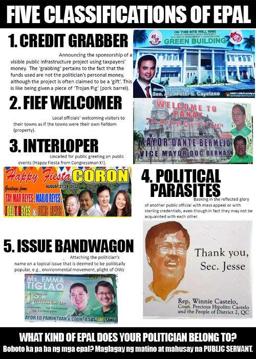 anti epal bill Pacquiao has filed senate bill no 1535 bill banning epals in government, particularly elective officials who put their names in on-going government projects.